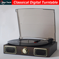 Digital 3 Speed selectable Home Turntable, AUX, Stereo Speaker, platine vinyle records player with stylus, giradiscos de vinilo