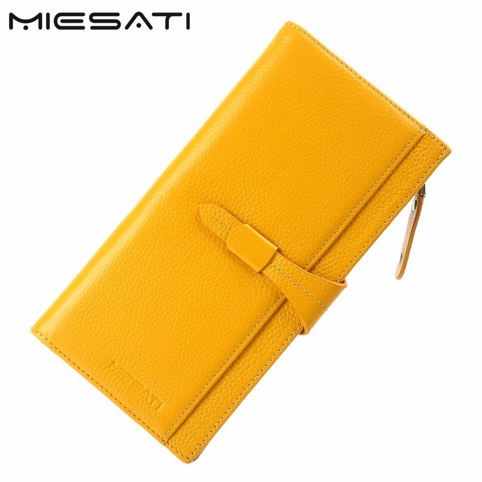 MIESATI 2017 New Arrival Genuine Leather Women Wallet Brand Real Cowhide Wallet Long Design Clutch Female Purse With Card Holder free shipping new women s wallet cowhide genuine leather wallet for women famous brand wallet plaid shape hot cute women purses