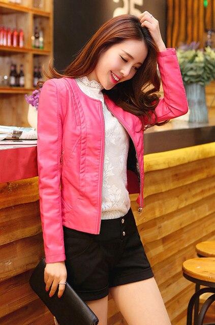 a51e424e5c1 2018 fashion design women plus size PU leather jacket black red hot pink  color