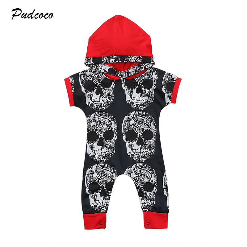 0-3Y Fashion Newborn Toddler Baby Boy Clothes Short Sleeve Skull Hooded Romper Jumpsuit Playsuit Outfits Clothing