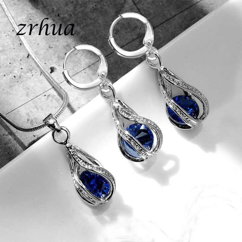 ZRHUA magnifique zircon cubique brillant ensembles de bijoux pour les femmes goutte d'eau pendentif collier boucles d'oreilles de haute qualité avec chaîne de serpent