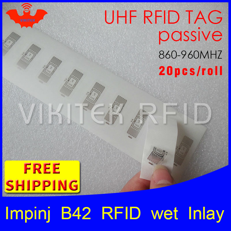 UHF RFID tag sticker Impinj B42 wet inlay 915m868 860-960mhz Higgs3 EPC 6C 20pcs free shipping self-adhesive passive RFID label uhf rfid tag epc 6c sticker impinj j41 wet inlay 915mhz868mhz860 960mhz higgs3 100pcs free shipping adhesive passive rfid label