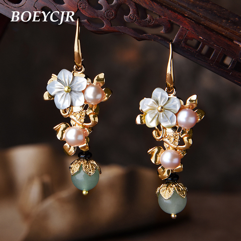 BOEYCJR Ethnic Vintage Freshwater Pearl Stone Bead Dangle Earrings Fashion Jewelry Drop Shell Flower Earrings For Women 2018 цены онлайн