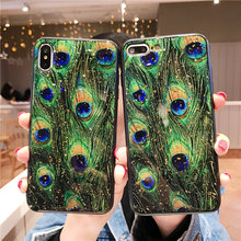 Купить с кэшбэком new Feather Gold Foil Peacock Phone Case For iPhone X 10 XS Max XR Soft TPU Cover For iPhone 7 8 6 6s Plus Glitter Luxury Coque