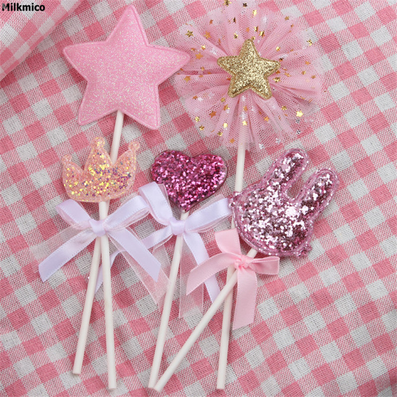 Milkmico 5pcs/Set Baby Cupcake Picks Kids Happy Birthday Cake Toppers For Wedding Party Cake Dessert Table Decorations Supplies