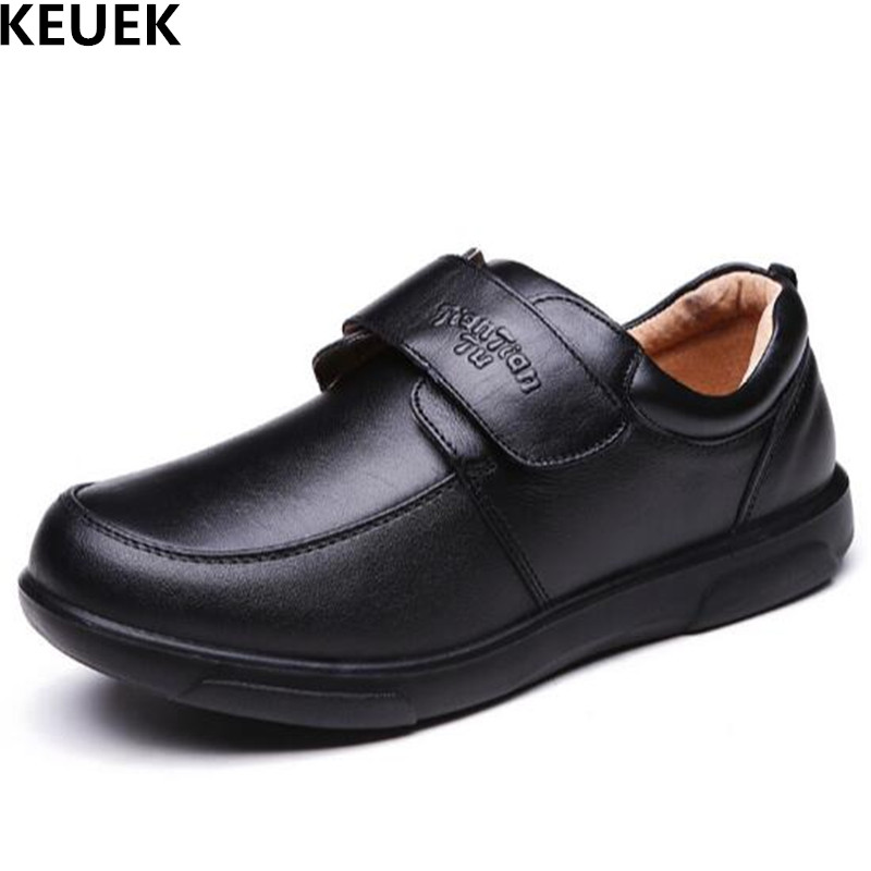 New Children Shoes Spring/Autumn Boys Leather Shoes Baby Student Genuine Leather Dress Black School shoes Kids Flats 018 ...