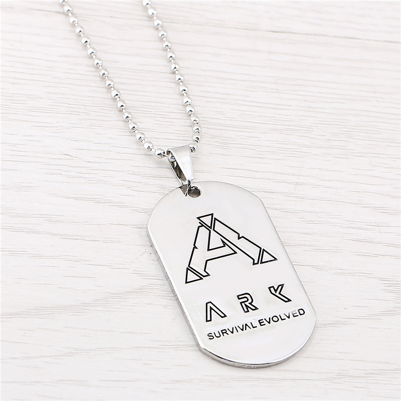 J store ARK Survival Evolved Pendant Necklace Women Dog Tag Model Silver Zinc Alloy Long Necklaces Game Jewelry colar feminino