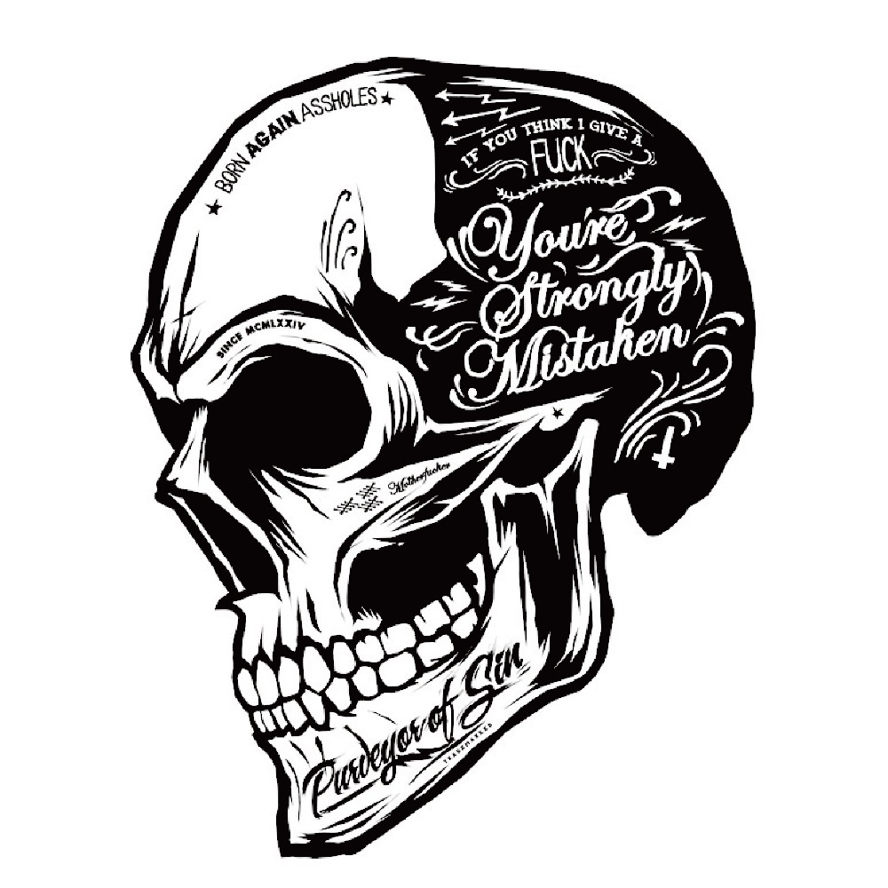 Black White Skull Cool Motorcycle Stickers Moto Decals