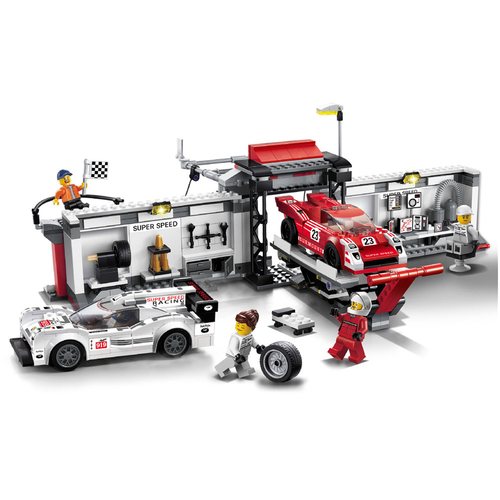 CITY SPEED CHAMPIONS 919 Hybrid and 917K Pit Lane Car Building Blocks Sets Bricks Classic Model Kids Toys Gift Compatible Legoe запчасть tetra крепление для внутреннего фильтра easycrystal 250