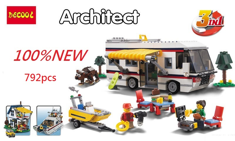 3 Model DECOOL 3117 792pcs City Creator 3 in 1 Vacation Getaways BlocksModel Toys FIT LEPIN LEGO Building bricks 31052 LPS LEPIN lepin city creator 3 in 1 beachside vacation building blocks bricks kids model toys for children compatible with lego gift kid