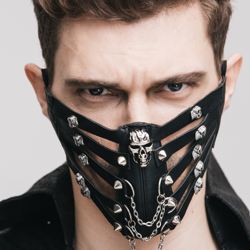 New Punk Cool The New ROCK Rock Skeleton Steampunk Pikou Cover Mask Creative Masks Black Mouth Mask Christmas Black Mask Face