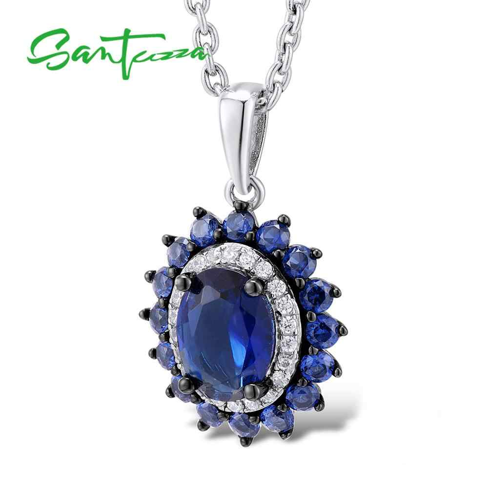 Santuzza Liontin Perak Cocok untuk Kalung Rantai untuk Wanita Blue Nano CZ Liontin Murni 925 Sterling Silver Fashion Liontin Perhiasan