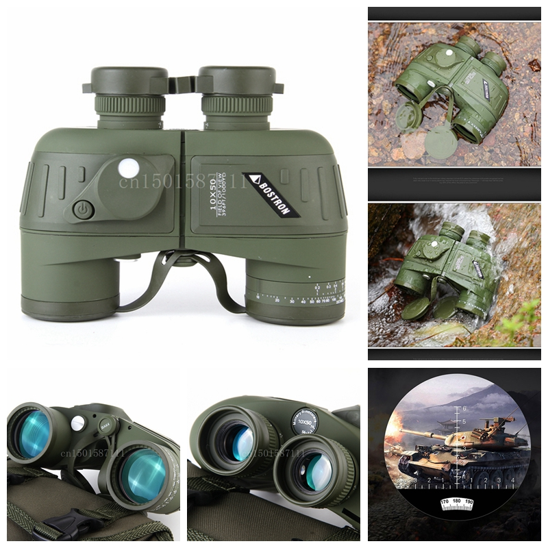 binoculars 7X50/10x50 hd professional military binocular with Digital Compass telescope night vision Eyepiece focus цена