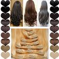 "8 Piece Clip in Real Hair Extensions Full Head Highlight Brown Blonde 17"" Curly Sythetic Hair 28"