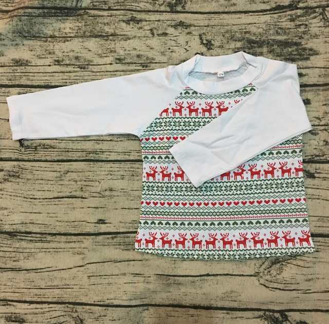15f0a0a0f3 Factory direct custom Christmas children toddler green and red stripe  raglan top 3/4 sleeves