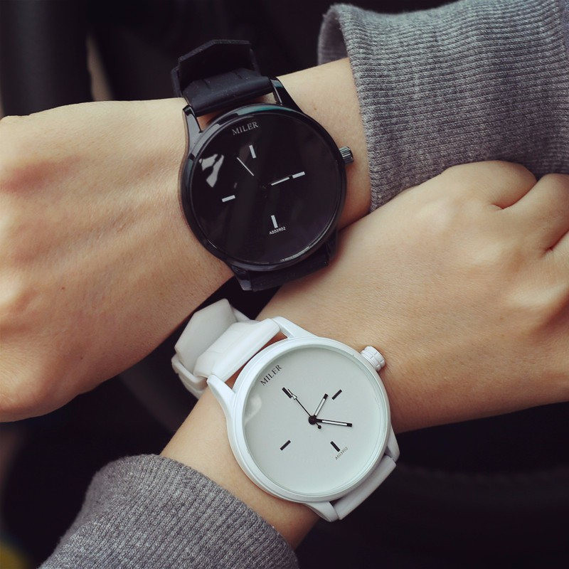 MILER New Fashion Women Men Watches  Candy Color Silicone Strap Watch Simple  Quartz-watch Students lovers'  Watch relogio clock original miler brand soft silicone strap jelly quartz watch wristwatches for women man lovers family black for led kids student
