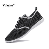 Viihahn Men Shoes 2017 Summer Breathable Light Mens Casual Shoe Mesh Lace Up High Quality Flat