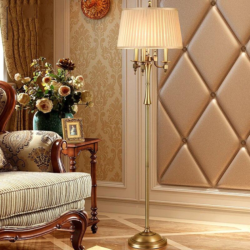 Placage américain lampadaire Led ampoule lampe E14 chandelier forme Style européen salon chambre fer mode lampadaire Led