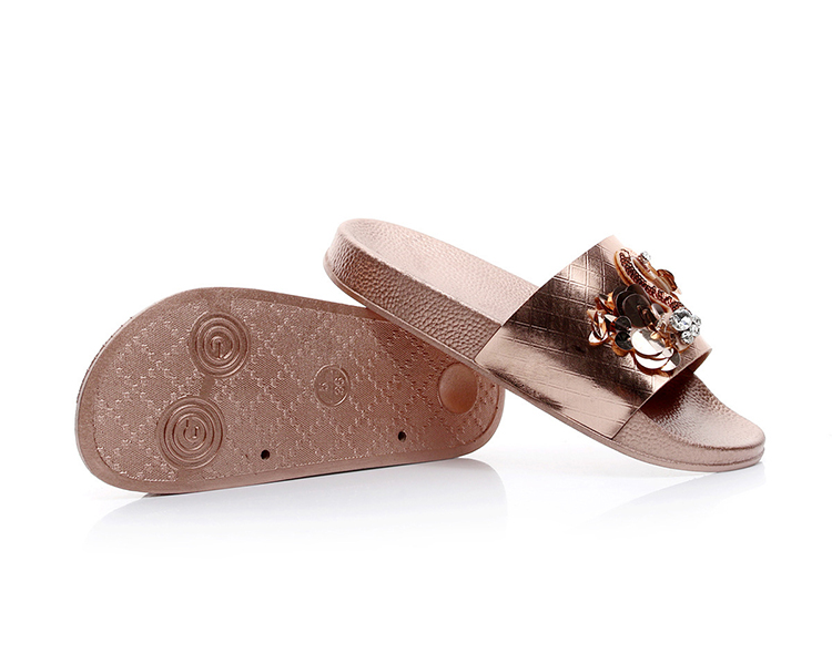 1043cc501c4d5 Coolsa New Summer Women Bling Slippers Rhinestone Flowers Beach Sandals  Flamingo Flat Lady Slides Home Flip flops Casual Shoes