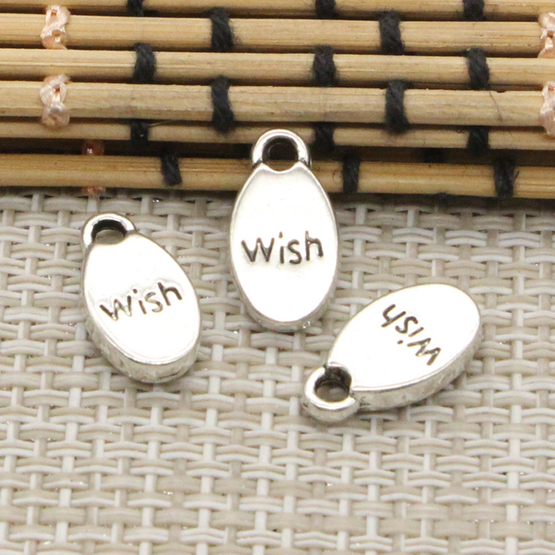 10pcs Charms plates inspire wish create believe 15*8mm Tibetan Silver Plated Pendants Antique Jewelry Making DIY Handmade Craft