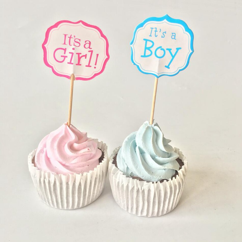 It's a <font><b>Girl</b></font> Boy Cupcake Toppers Baby Child 100 days Celebration Baby Shower Kids <font><b>1</b></font> year old First <font><b>birthday</b></font> Party Cake <font><b>Decoration</b></font> image