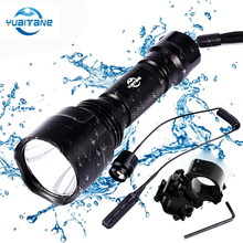 10000 lumems C8 Tactical LED Flashlight L2/T6 Flash light 5 modes Powerfull Flashlights LED Torch Lamp+18650+Charger+Gun Mount