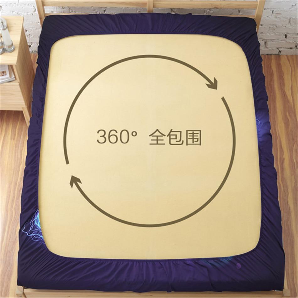 Home Textile 3D Basketball Design Bed Sheet Fire Blue Lightning Print Fitted Sheet King Queen Bedding Deep Pocket Bedclothes in Sheet from Home Garden