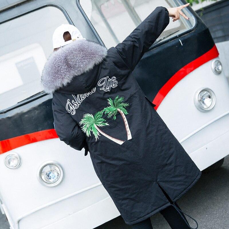 Coconut Tree Embroidery Winter Overcoat Loose Large Fur Collar Female Cotton-padded Jacket Medium-long Women Wadded Jacket Coats new fashion 2017 winter jacket women korean loose large fur collar hooded overcoat female parkers medium long warm cotton coats