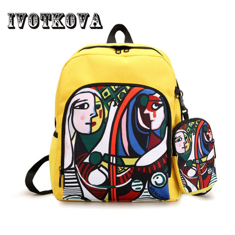 IVOTKOVA Women Backpacks For Teenage Girls Printed School Bags Travel Leisure Laptop Backpack Female Canvas Backpacks