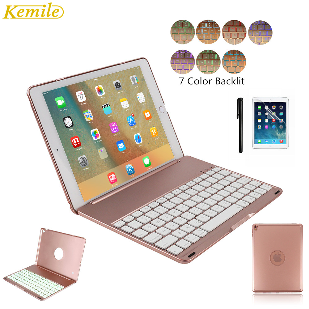 Kemile For iPad Pro 9.7 Thin Keyboard Case 7 Colors LED Backlit Bluetooth Keyboard Cover Slim Aluminum Alloy Case for iPad air2 slim case for ipad mini 4 aluminum wireless bluetooth keyboard 7 colors backlit protective smart cover for ipad mini4 flip stand