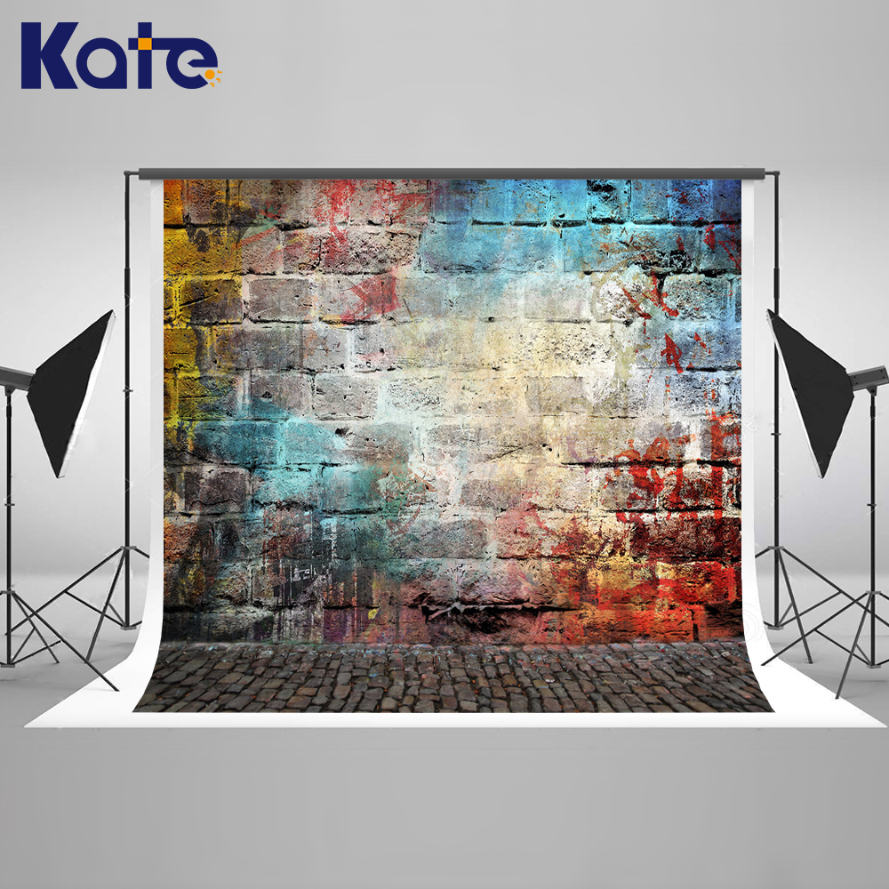 KATE Photo Background Vintage Wall Photography Backdrop Newborn Backdrop Colorful Brick Wall Backgrounds for Photo Studio newborn photography background blue sky white clouds photo backdrop vinyl balloons scattered petals backgrounds for photo studio