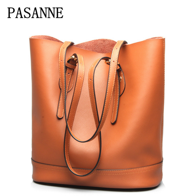 Causal Woman Bag Shopping Bags 2017 New PASANNE Luxury Genuine Leather Girl Female Tote Handbags Lady Women Shoulder Bags