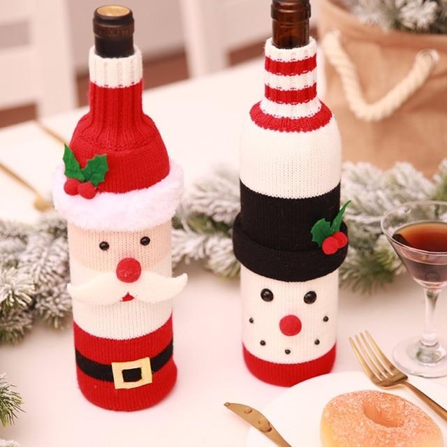 8bb2745d8e79c 1PC Christmas Santa Claus Knitting Red Wine Bottle Cover For Bar Xmas  Snowman Bottle Bag Decoration Dinner Table Decor For Home