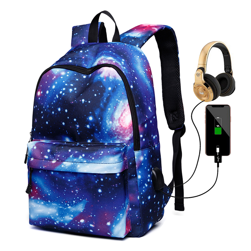 Starry Sky Travel Hiking Sports School Bags,Laptop Bag With USB Charging Port,Casual Daypack, Business,Outdoor Rucksack
