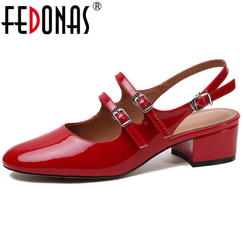 FEDONAS High Quality Genuine Leather Women Pumps Classic Sandals Mary Jane Shoes Party Wedding High Heels 2019 New Shoes Woman