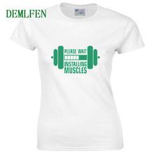 255e52231 Installing Muscles Printed Funny Women T Shirt Summer New Casual Hipster  Cotton High Quality Top Tees