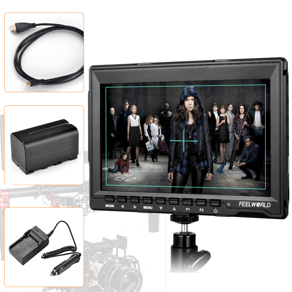 Feelworld FW759 7 DSLR Camera Monitor HD IPS 1280x800 Field LCD Monitor HDMI Input w/ Battery + Charger + Micro HDMI Cable