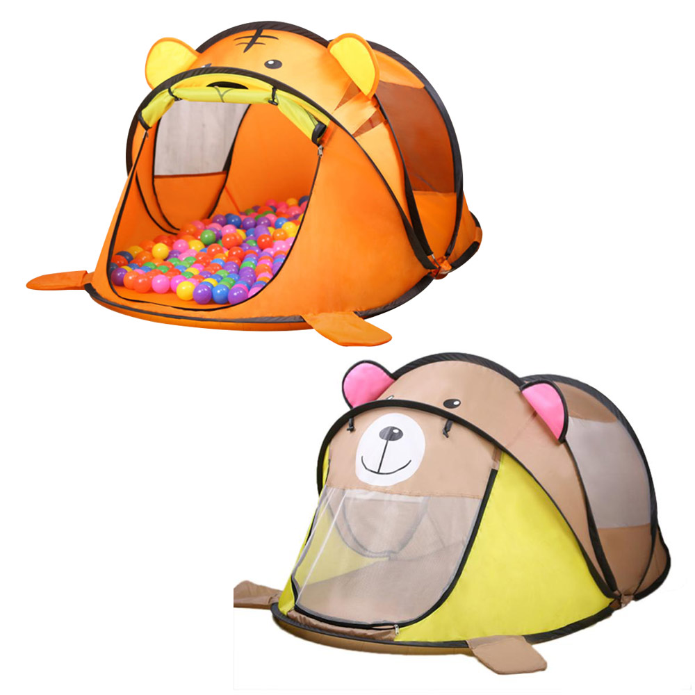 Portable Tiger Children's Tent Cartoon Animal Kids Play House Outdoors Large Pop Up Toy Tent Indoor Nets Baby Ball Pool Pit Toys
