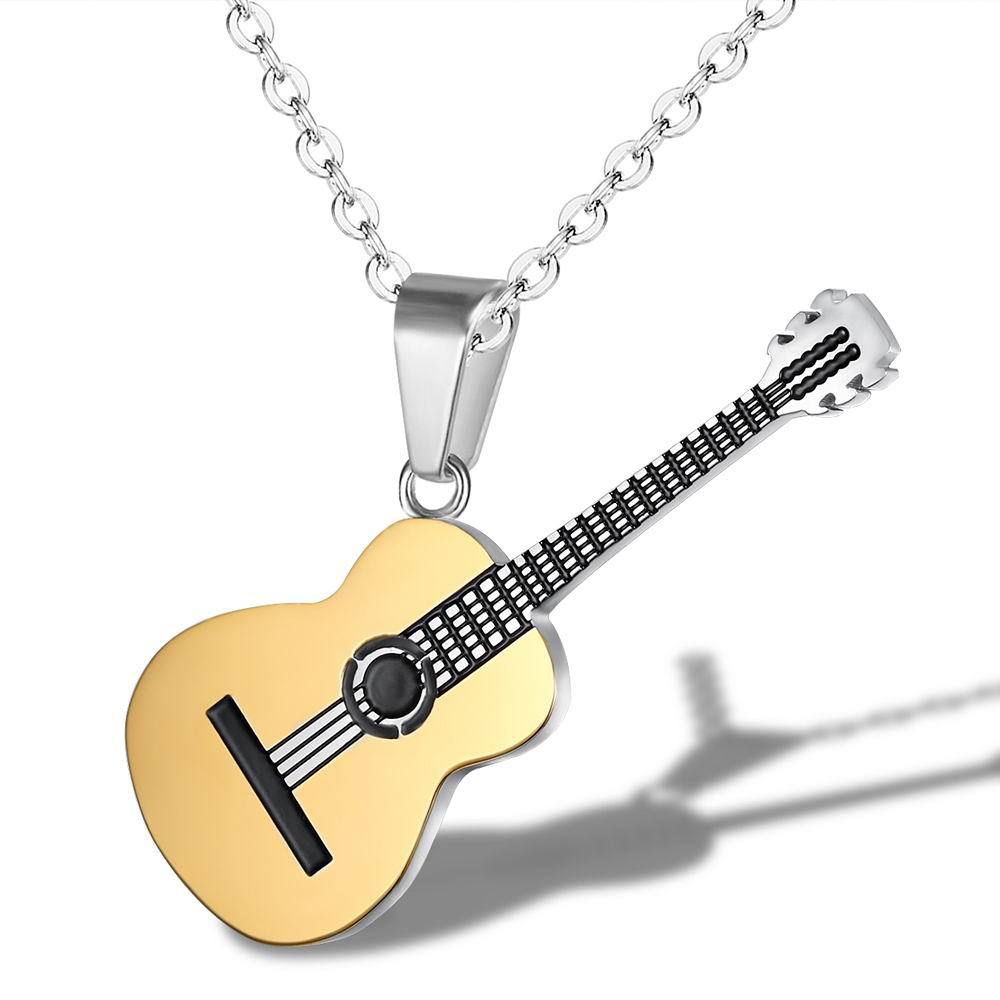 Rock Two Tone Gold Color <font><b>Titanium</b></font> Stainless <font><b>Steel</b></font> Music <font><b>Guitar</b></font> Pendant Link Chain <font><b>Necklace</b></font> for Men Jewelry image