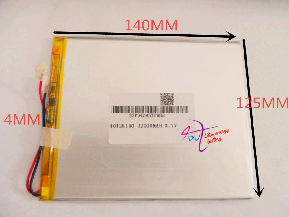 best battery brand 40125140 3.7v 12000mAh With plug For CH, Tablet PC Battery , Perfect quality of lar