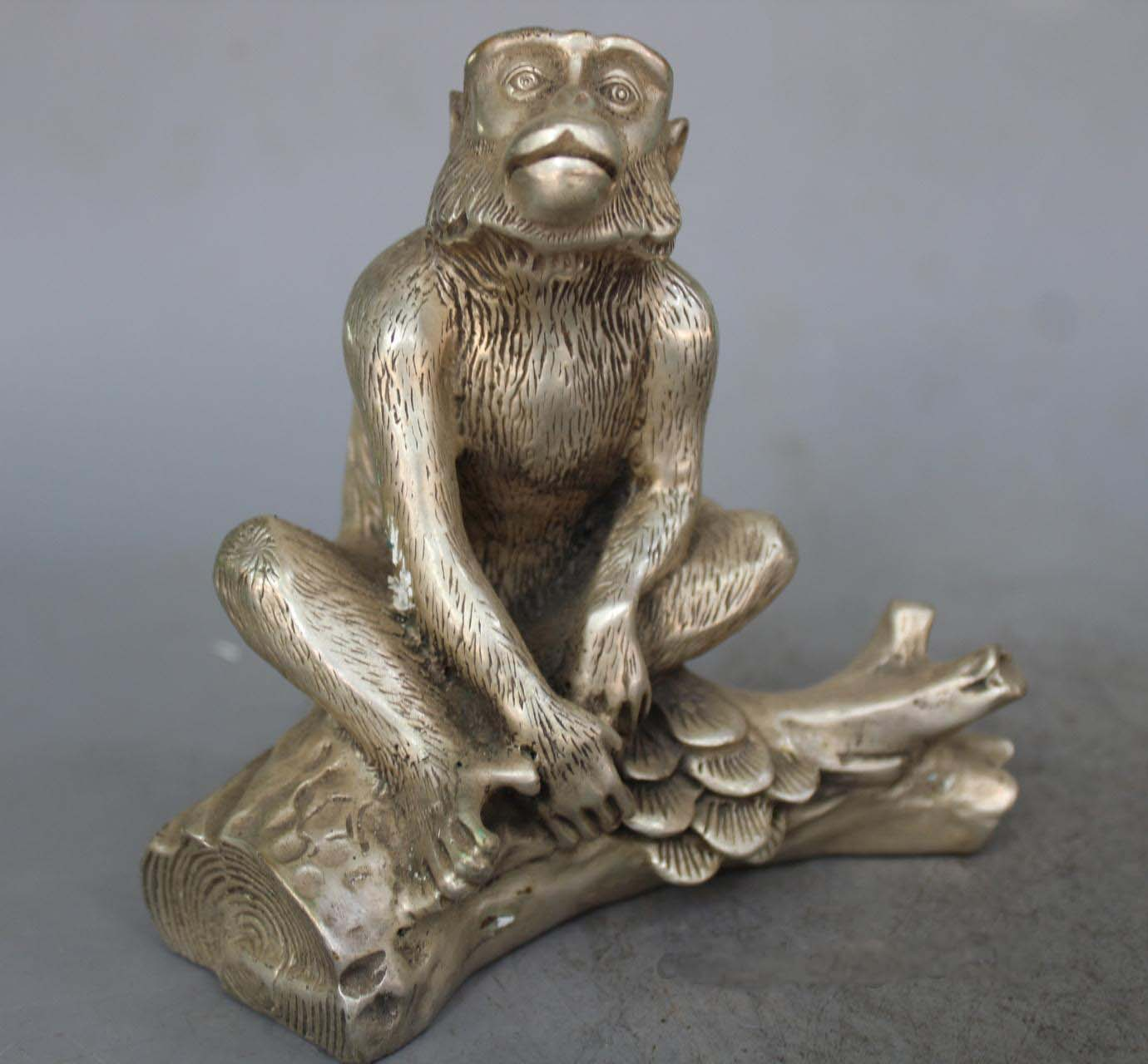 Chinese Fengshui Silver Gilt Monkey Seat Pine Tree StatueChinese Fengshui Silver Gilt Monkey Seat Pine Tree Statue