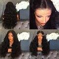 Толстое Тело Волна Человеческих Волос Glueless Полные Парики Шнурка Peruvain Девственной волосы 180 Плотность Густые Волосы Парик Фронта Шнурка Для Чернокожих Женщин
