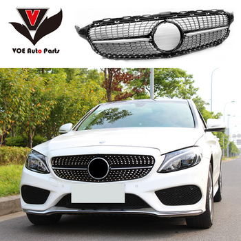 W205 Diamond Style Front Mesh Racing Grill Grille for Mercedes-Benz W205 New C-class C180 C200 C220d C250 C260 C400 Black/Silver