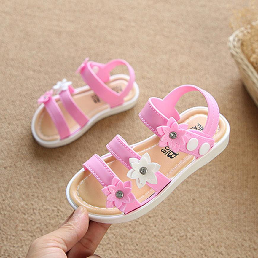 MUQGEW Childrens Clothes Children Kids Infant Girls Three flowers Sandals Non-Slip Princess Casual Shoes