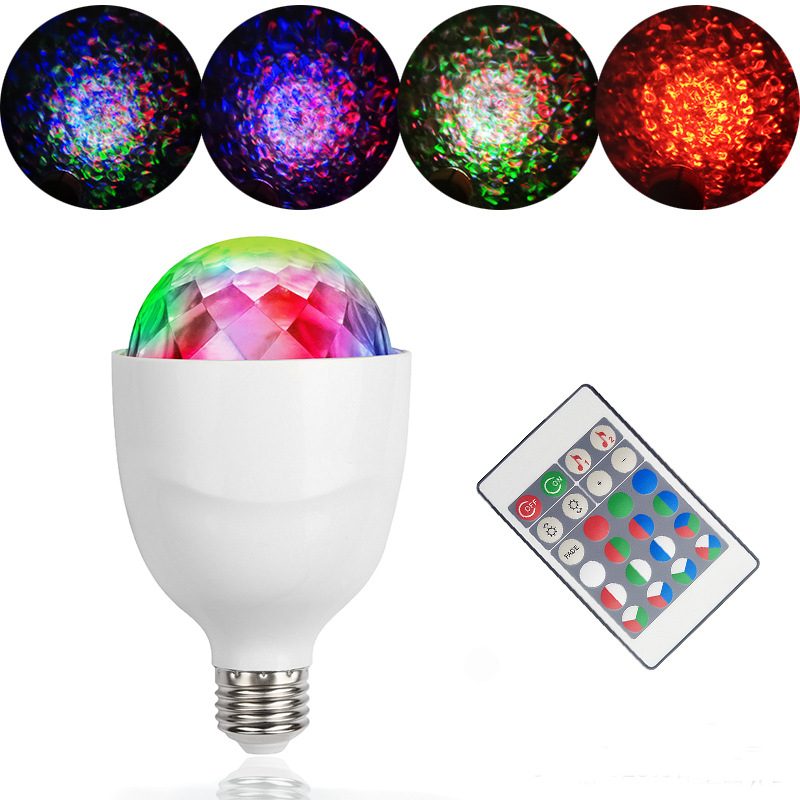 Mini 4W E27 RGBW LED Water Wave Ripple Disco Stage Light Sound Actived Crystal Magic Disco Ball KTV Xmas Wedding Party Lights