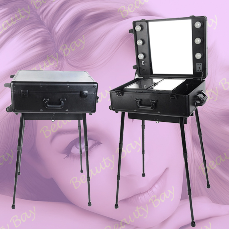 trolley aluminium aluminum makeup cosmetic case with mirror lights bulbs legs stands trayschina