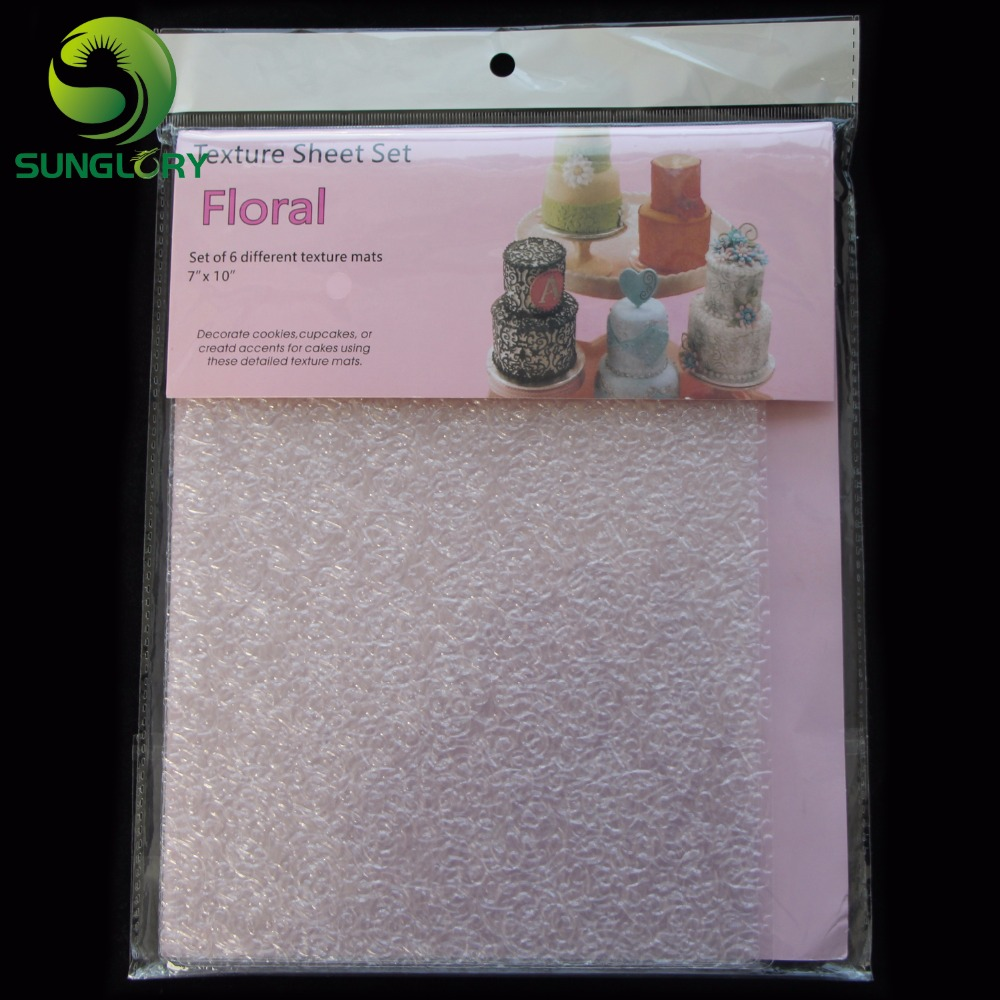 6PCS Floral Texture Sheet Set Sugar Craft Decoration Texture Mat For Cookie Cupcake Fondant Cake Mold Baking Tools For Cakes in Other Cake Tools from Home Garden