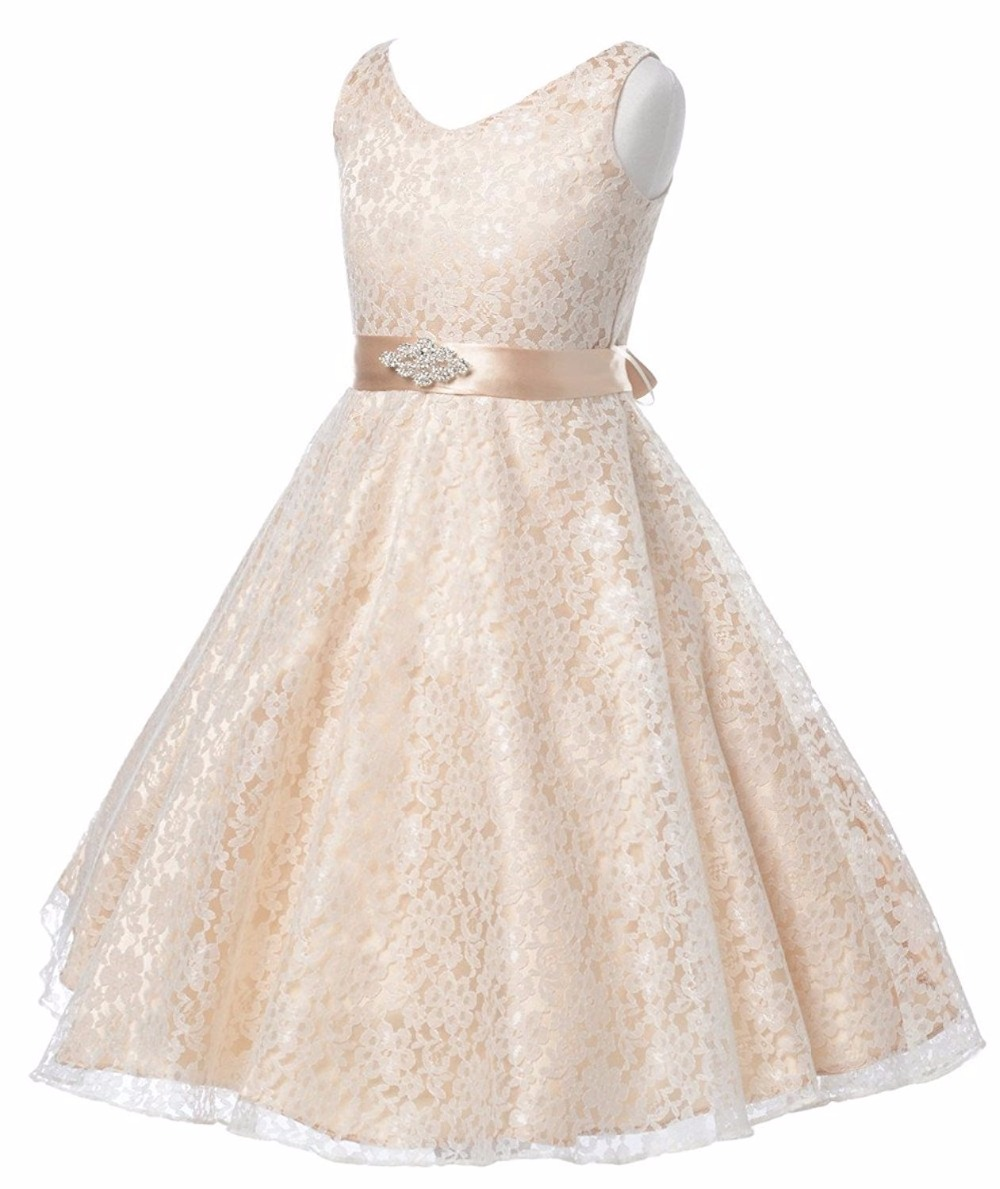 Sleeveless Holy Communion Infant Kids Ankle Length Lace Satin Gowns Beading Champagne Flower Girls Dresses with Bow Belt  0-12