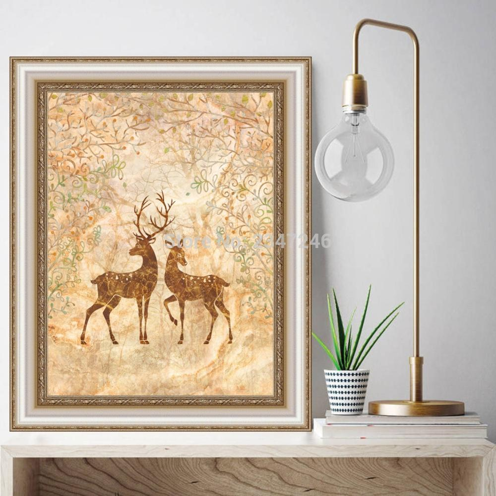 Cartoon Animal Modern Oil Painting Handmade Elk Wall Pictures ...