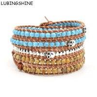 LUBINGSHINE Man Skull Strand Bracelets Handmade Braided Leather Bracelet Male Colorful Natural Stone Bead Wrist Jewelry